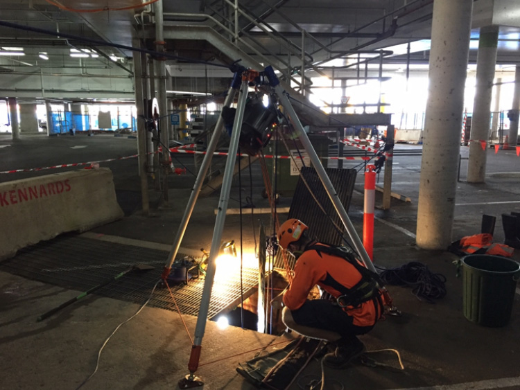 experiences SHA worker conducting confined space repairs