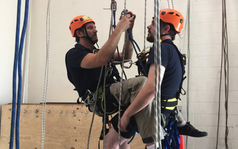 Trainees on harnesses in training environment