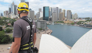 SHA worker with harness overlooking Sydney Harbour